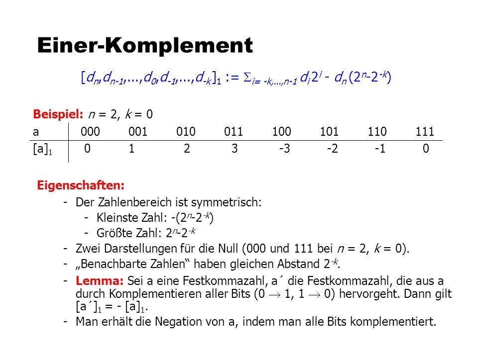 Einer-Komplement [dn,dn-1,...,d0,d-1,...,d-k ]1 := Si= -k,...,n-1 di 2i - dn (2n-2-k) Beispiel: n = 2, k = 0.
